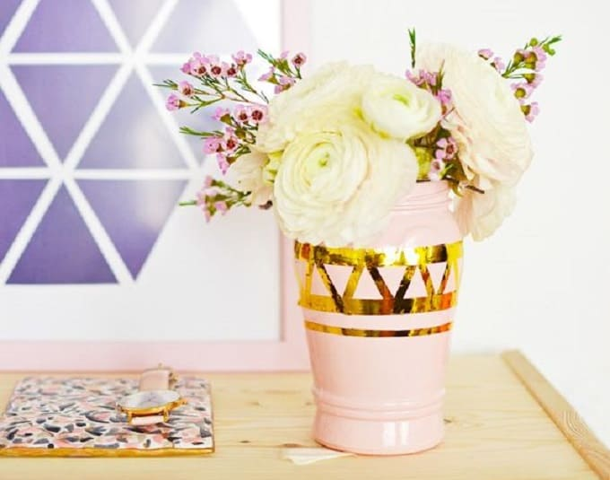 geometric  metallic vases