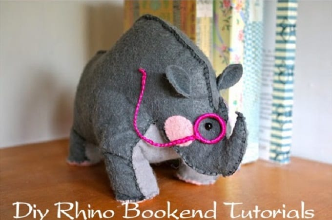felt rhino bookend