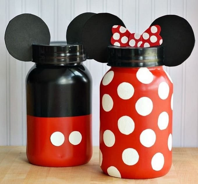 DIY Minnie and Mickey coin jars
