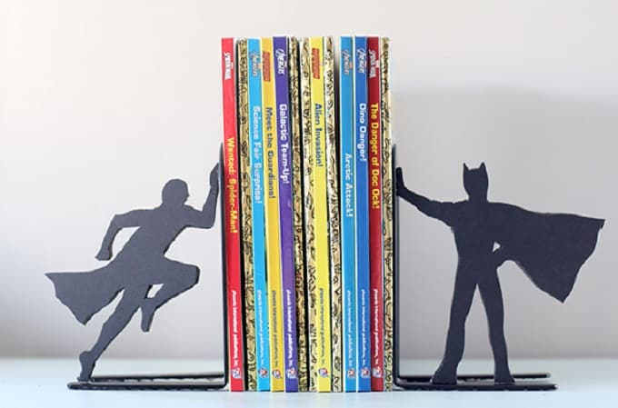DIY superhero silhouette bookends
