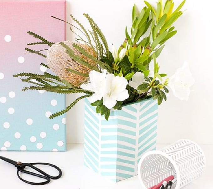 diy patterned box vase