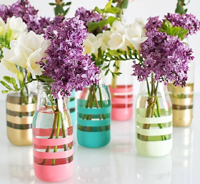 striped flower vases
