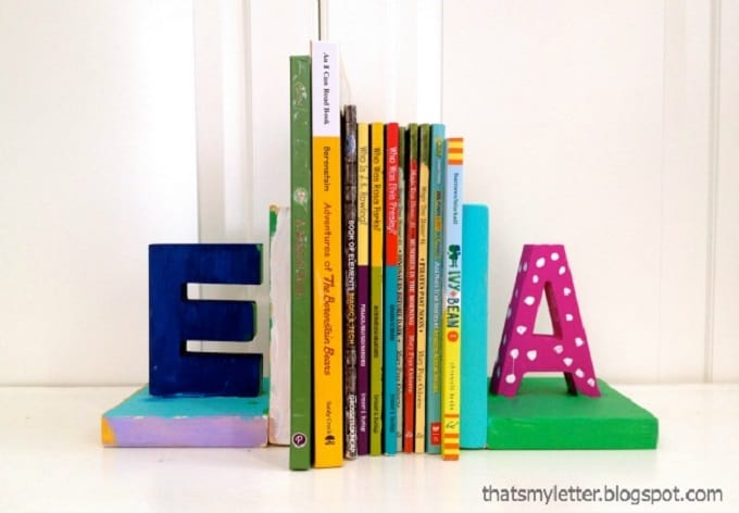 colorful letter bookends