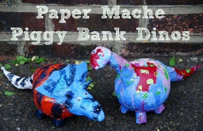 paper mache dinosaur coin bank