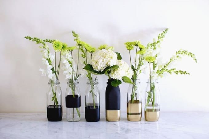 DIY color-blocked vases