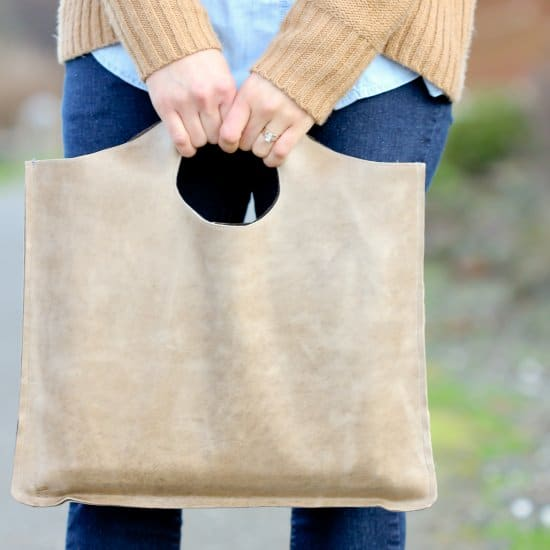 DIY Four Step Leather Tote