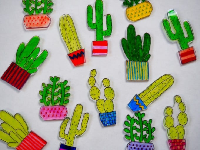 DIY cacti shrinky dinks