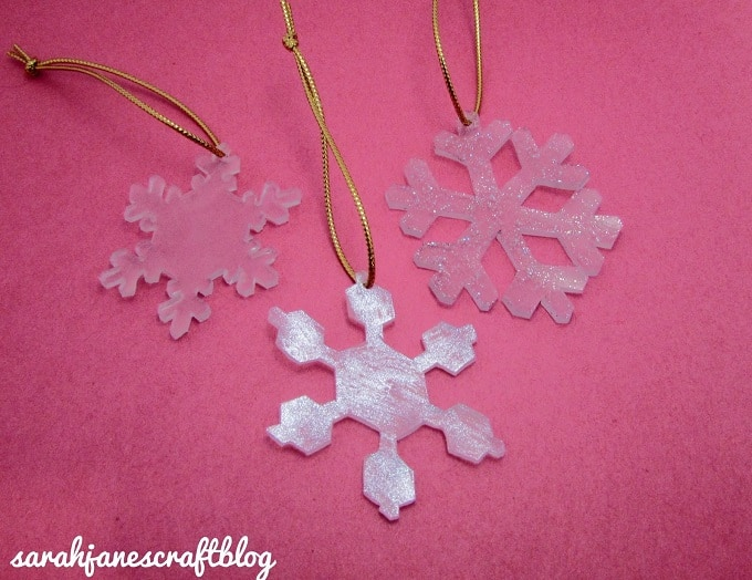 shrinky dink snowflake ornaments