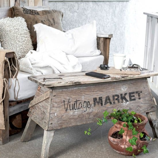 Pallet Wood Sawhorse Coffee Table
