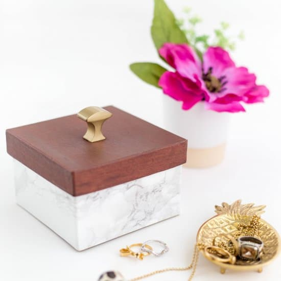 DIY Faux Wood And Marble Trinket Box