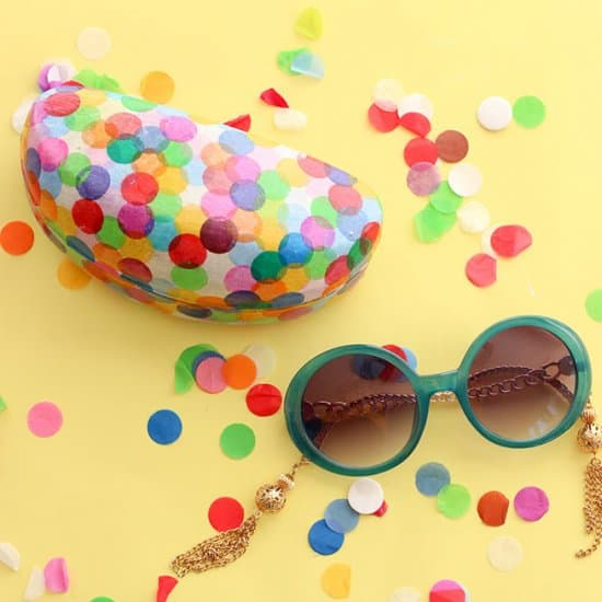 Confetti Covered Sunglasses Case