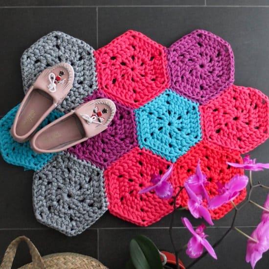 Chunky Hexie Crochet Rug