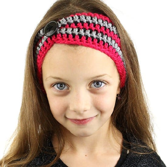 Striped Pinched Crochet Headband