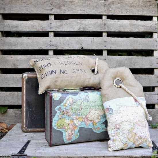 Luggage Tag Map Burlap Pillows