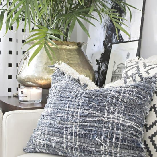 DIY Fringe Jean Chindri Rug Pillows