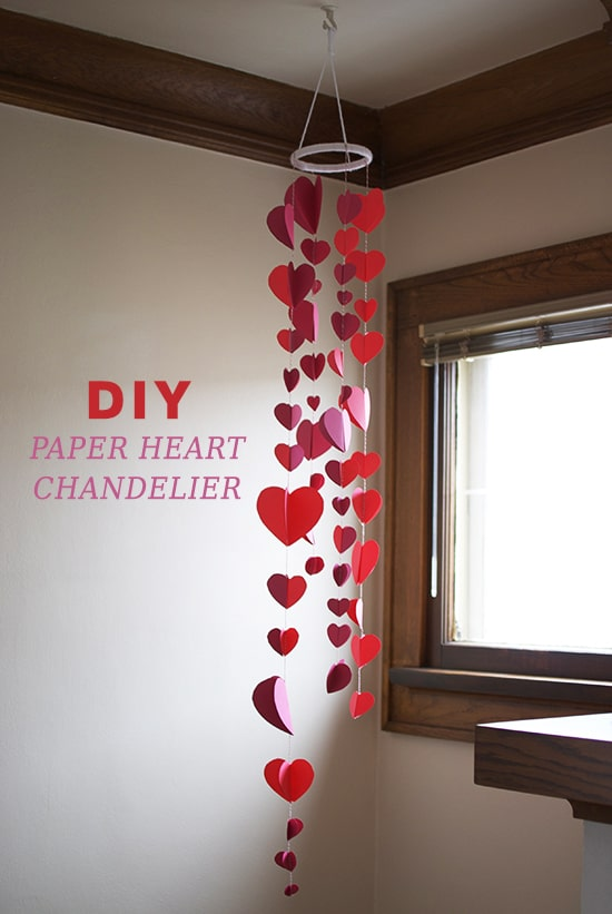 Diy Paper Heart Chandelier Valentines Day Decor 01 Cool Crafts