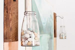 Rustic Glass Bottle and Reclaimed Wood Wall Hanging