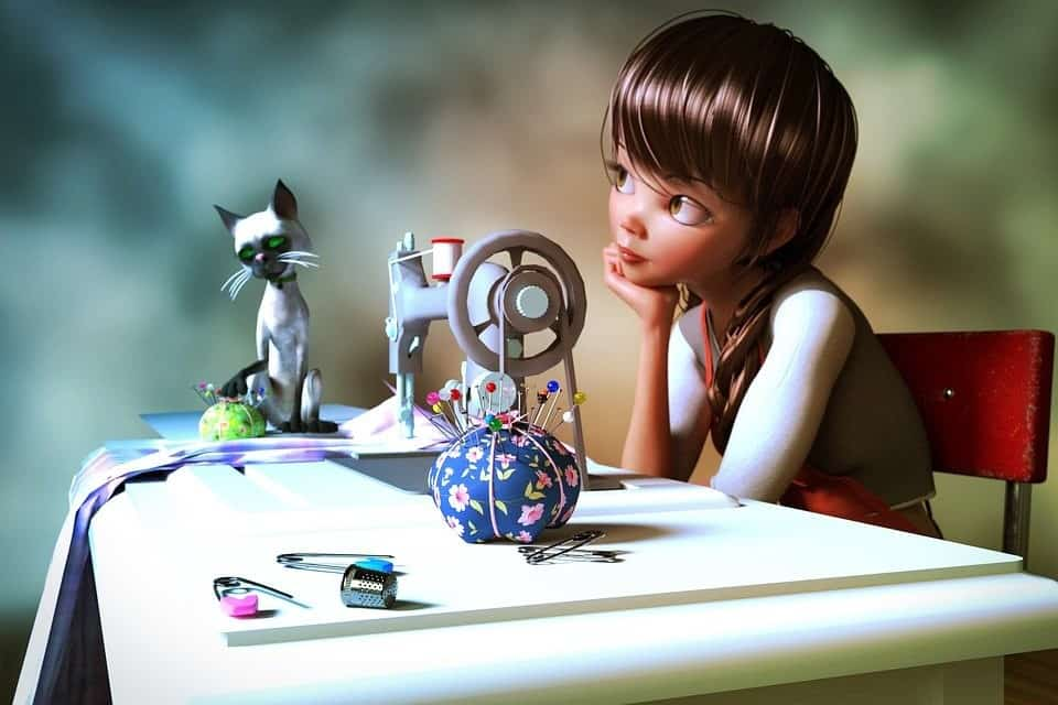 Illustration of a child in front of a sewing machine